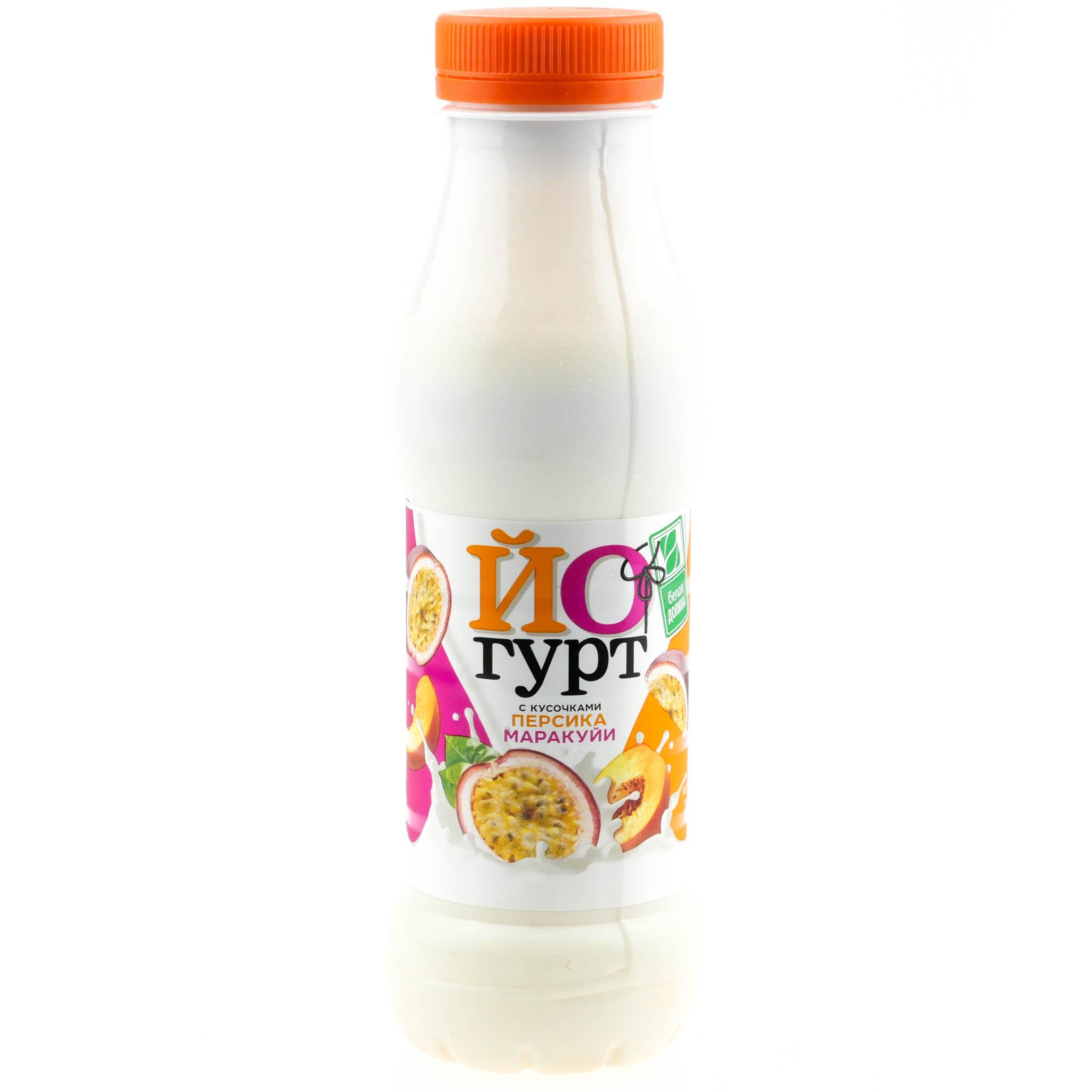 Йогурт Белая Долина 290г 2,5% персик-маракуйя БЗМЖ купить с доставкой на дом в интернет-магазине Торнадо